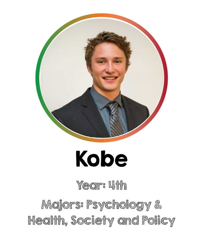 Kobe, 4th year student studying psychology and health, society & policy